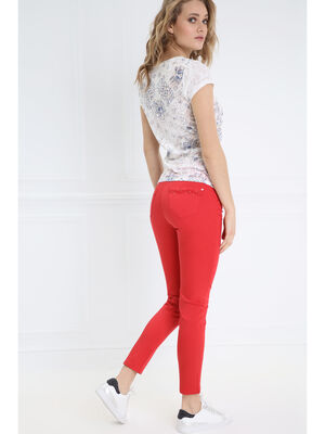 Pantalon ajuste a broderie rouge femme