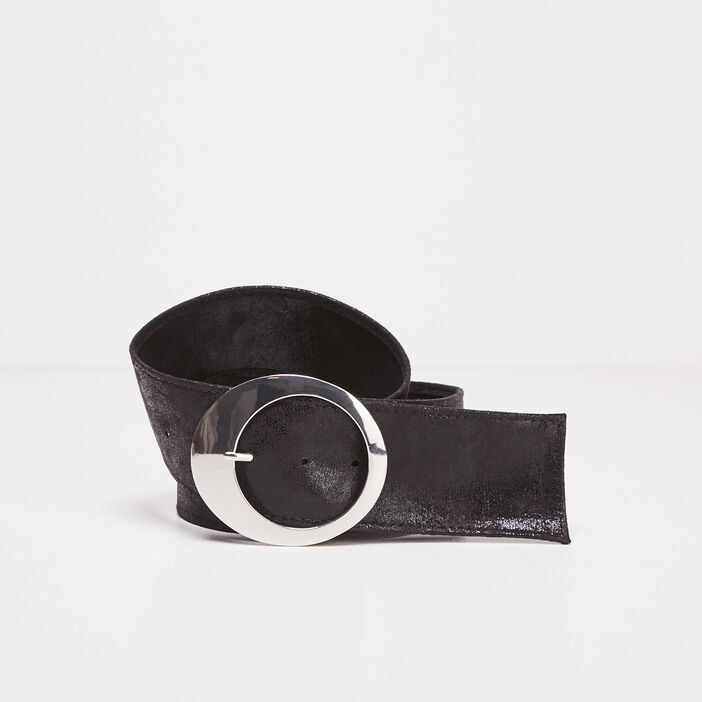 Ceinture large à boucle ronde noir femme