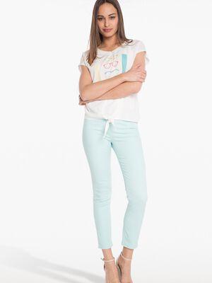 Pantalon ajuste uni avec strass bleu femme