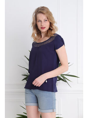 T shirt manches courtes detail guipure bleu femme