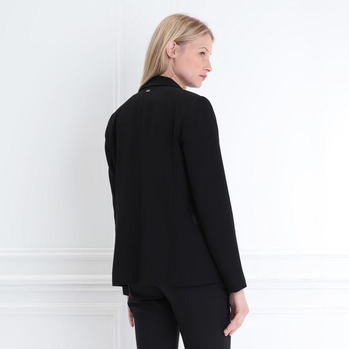 Veste droite col cranté noir femme