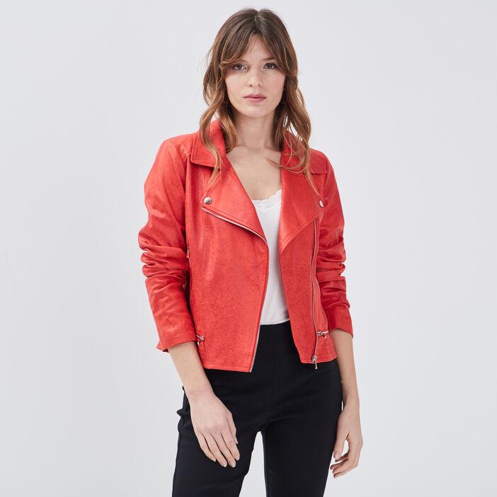 Veste esprit motard zippée rouge femme