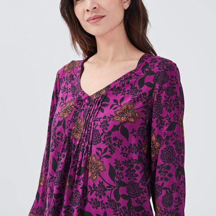 Blouse manches 3/4 violet femme