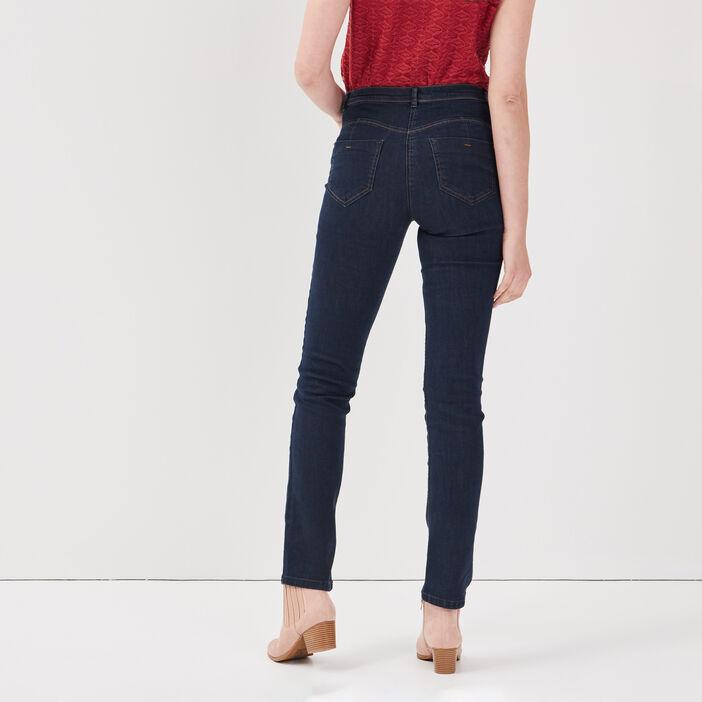 Jeans ajusté taille basculée denim brut femme