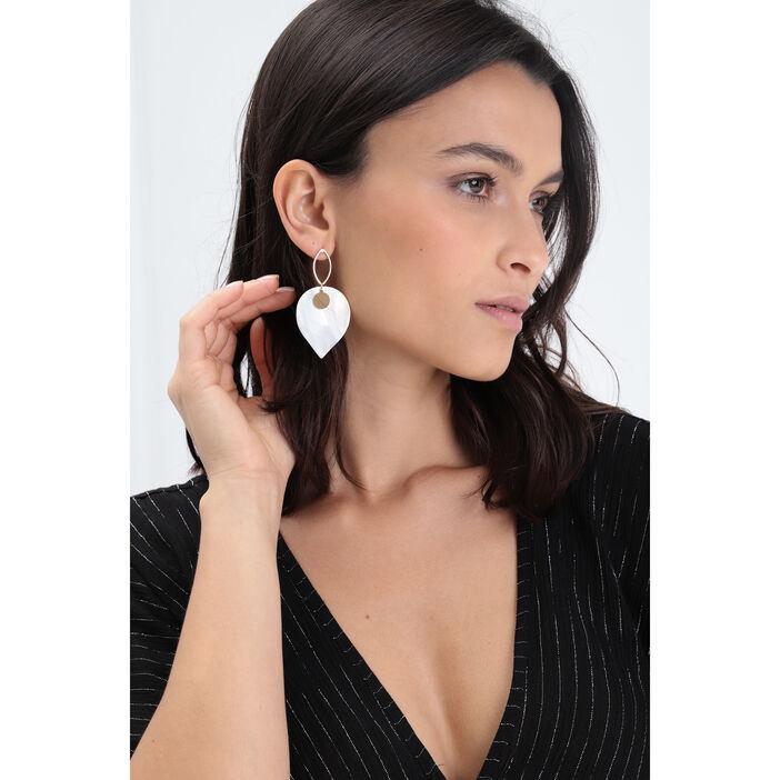 Boucles d'oreilles pendantes blanc femme