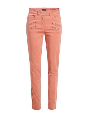 Pantalon ajuste details zippes vieux rose femme