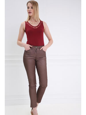 Pantalon taille basculee 78 marron clair femme