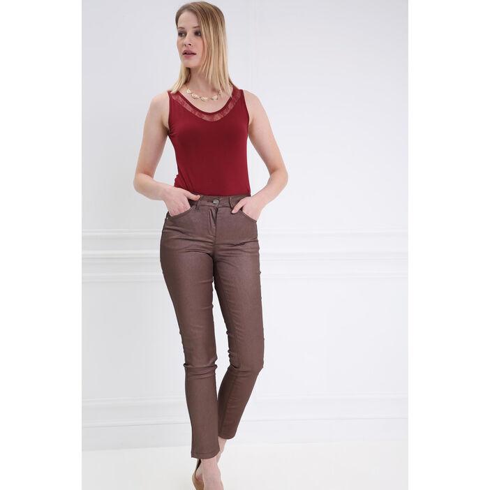 Pantalon taille basculée 7/8 marron clair femme