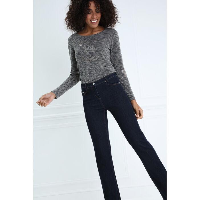 Jeans droit taille basculée denim brut femme