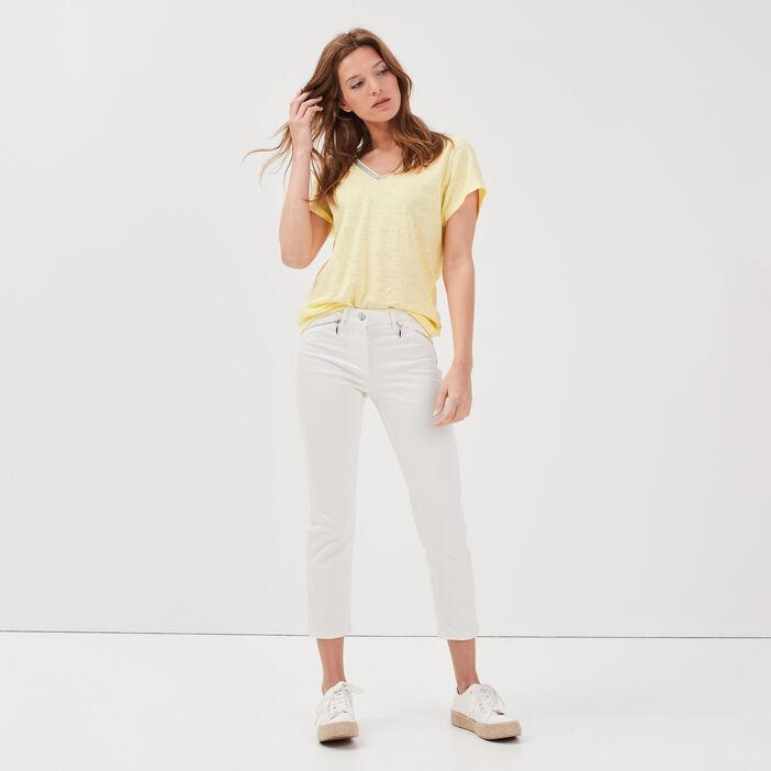 T-shirt manches courtes jaune fluo femme