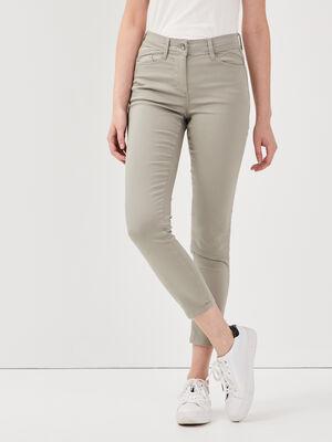 Pantalon ajuste taille standard vert clair femme