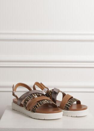 Sandales plates multi brides camel femme
