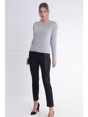 Pantalon taille basculee coupe ajustee noir femme