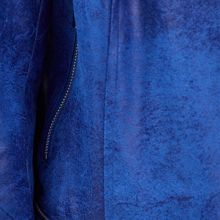Veste esprit motard zippée bleu electrique femme