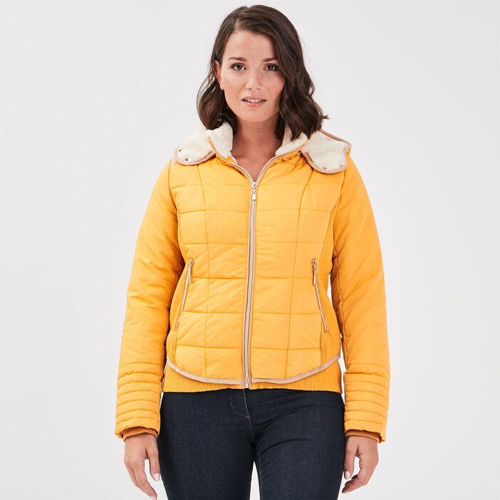 Doudoune courte bimatière jaune or femme