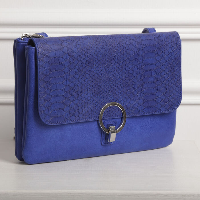 Sac pochette 2 compartiments bleu femme