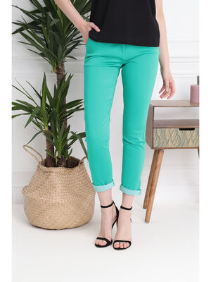 Pantalon taille standard vert femme