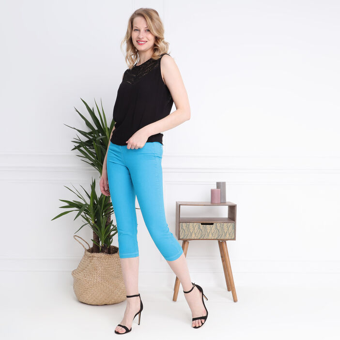 Pantacourt taille standard bleu canard femme