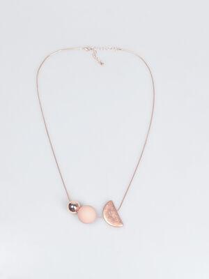Collier formes geometriques rose clair femme