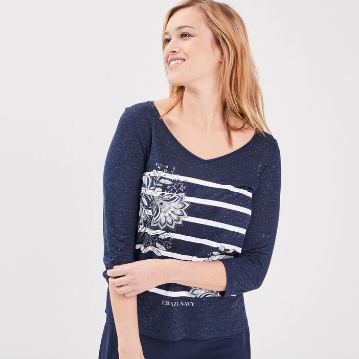 T-shirt manches 3/4 bleu foncé femme