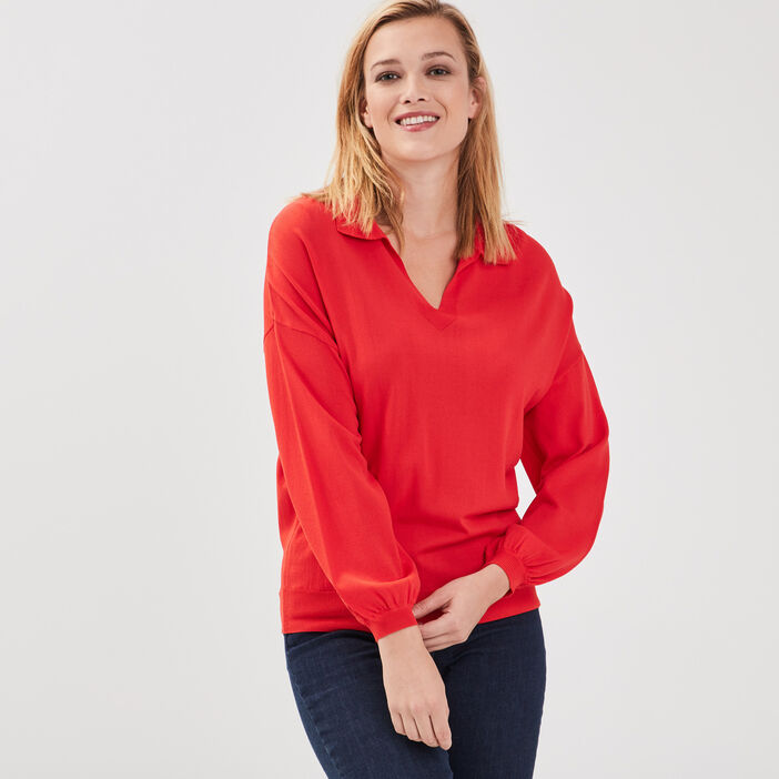 Pull manches longues rouge fluo femme