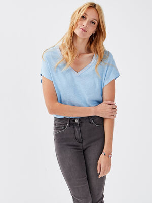 T shirt manches courtes bleu clair femme