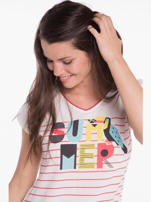 T shirt avec rayure ecru femme