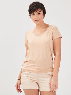 T shirt manches courtes marron clair femme