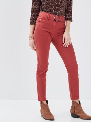 Pantalon ajuste ceinture marron fonce femme