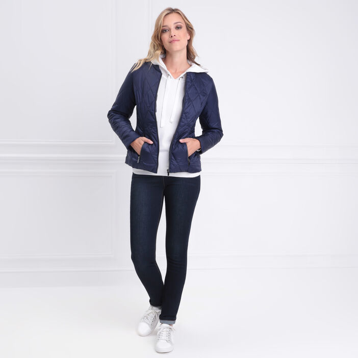 Doudoune cintrée zippée bleu marine femme