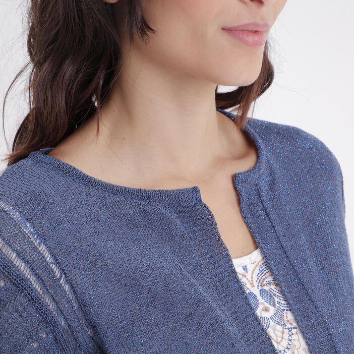 Gilet manches longues ajourées bleu femme