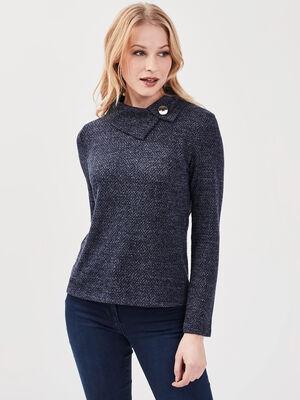 T shirt manches longues bleu marine femme