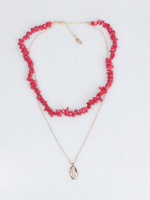 Collier long rouge femme