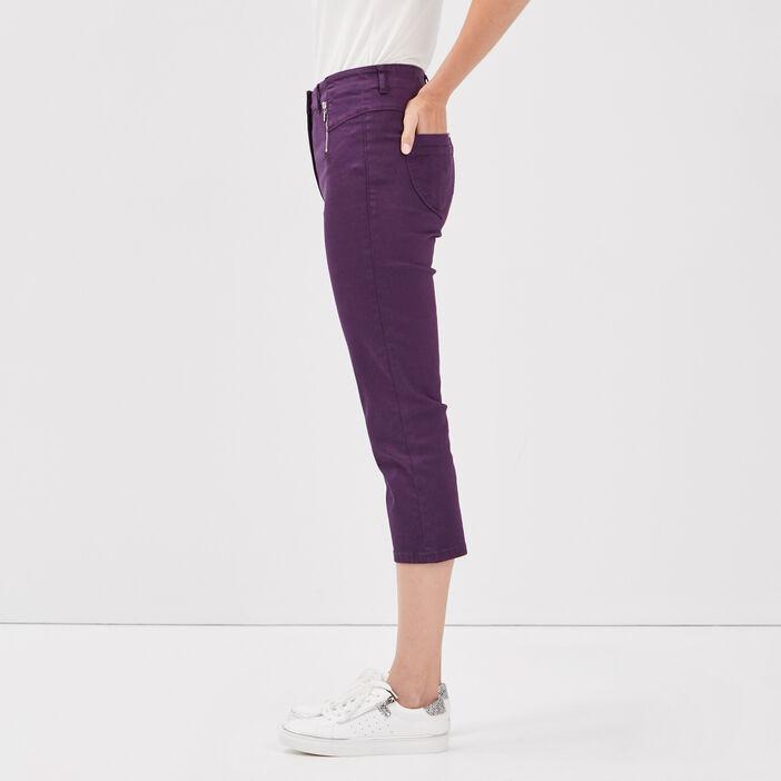 Pantacourt taille haute violet foncé femme