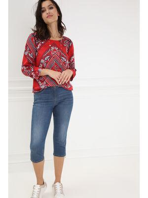 Pantacourt en jean denim stone femme