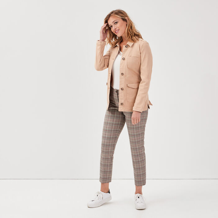 Pantalon cigarette taille basculée marron femme