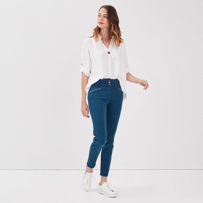 Pantalon ajusté taille haute bleu pétrole femme