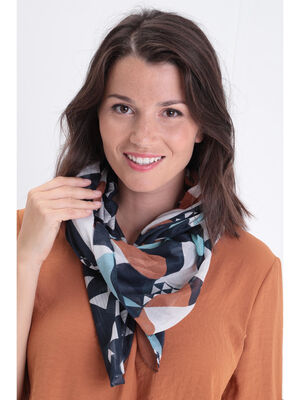 Foulard finitions ourlees orange fonce femme
