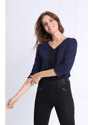 T shirt manches 34 col en V bleu marine femme