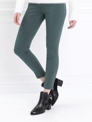 Pantalon ajuste taille haute vert canard femme