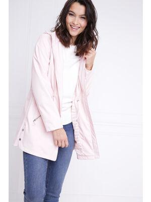 Parka longue coupe ajustee rose clair femme