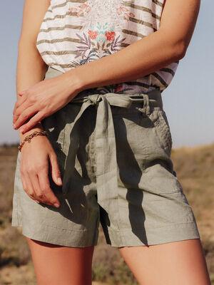 Short large ceinture vert clair femme
