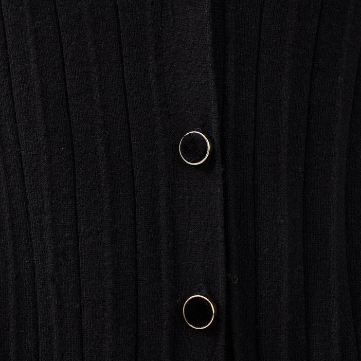 Gilet manches longues plissé noir femme