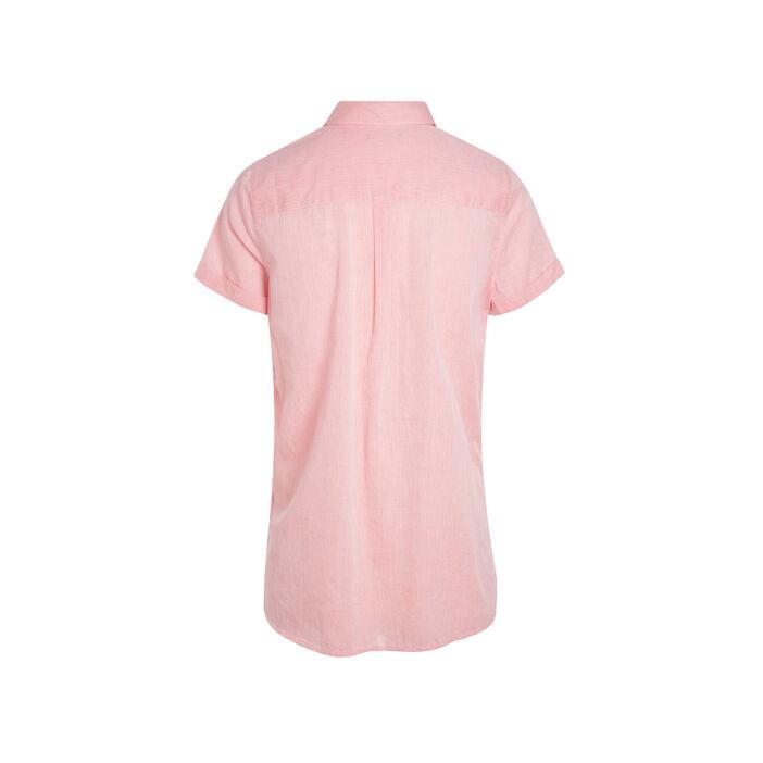 Chemise manches courtes revers orange corail femme