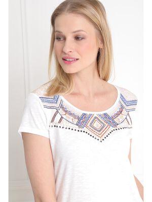 T shirt manche courte uni ecru femme