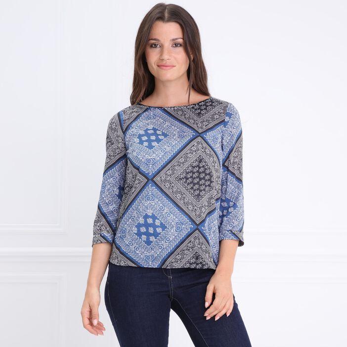 Chemise col rond détails clous bleu femme