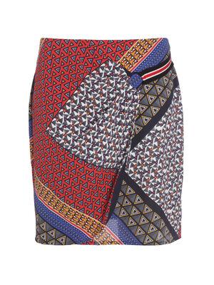 Jupe droite effet drape multicolore femme