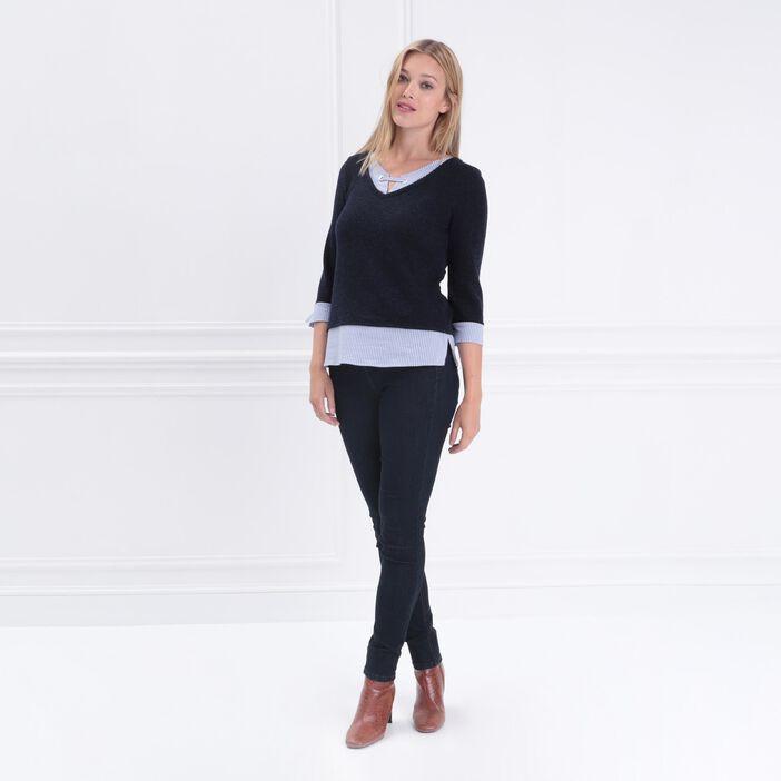 T-shirt manches 3/4 2-en-1 bleu marine femme