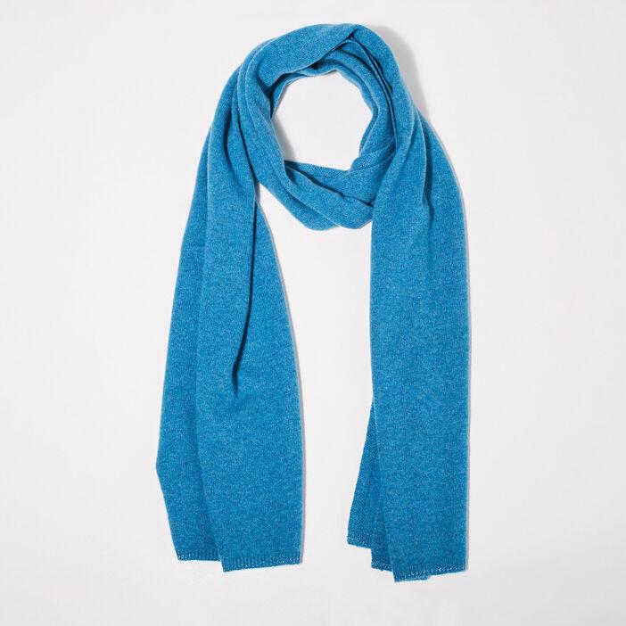 Étole en cachemire bleu femme