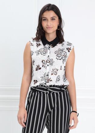 Chemise manches courtes blanc femme
